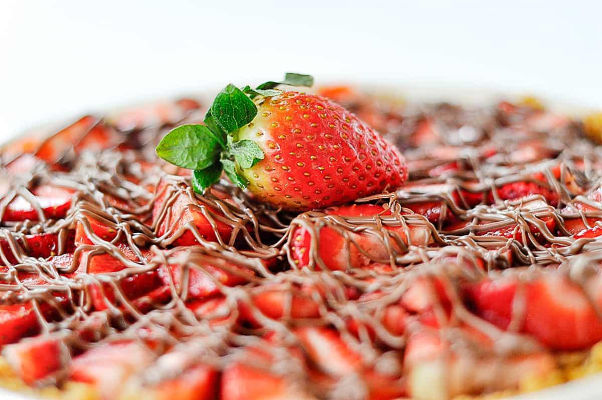 closeup of strawberry chocolate pie