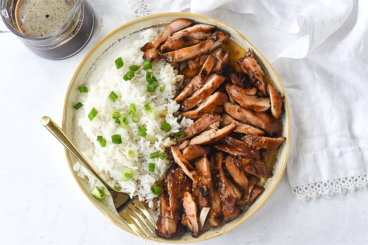 grilled chicken teriyaki with rice