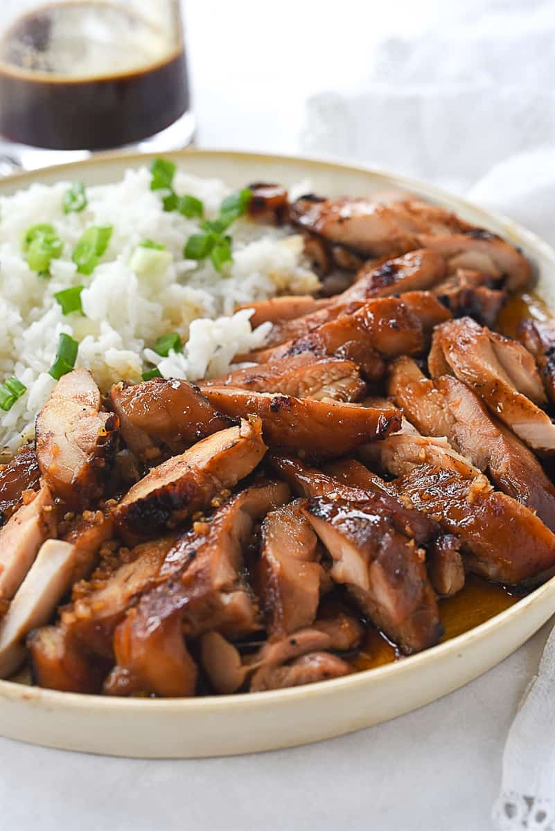teriyaki chicken and rice on a plate
