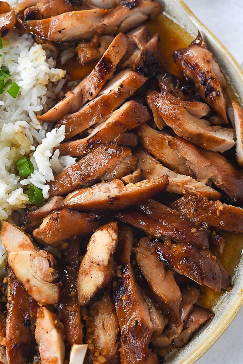 close up of teriyaki chicken