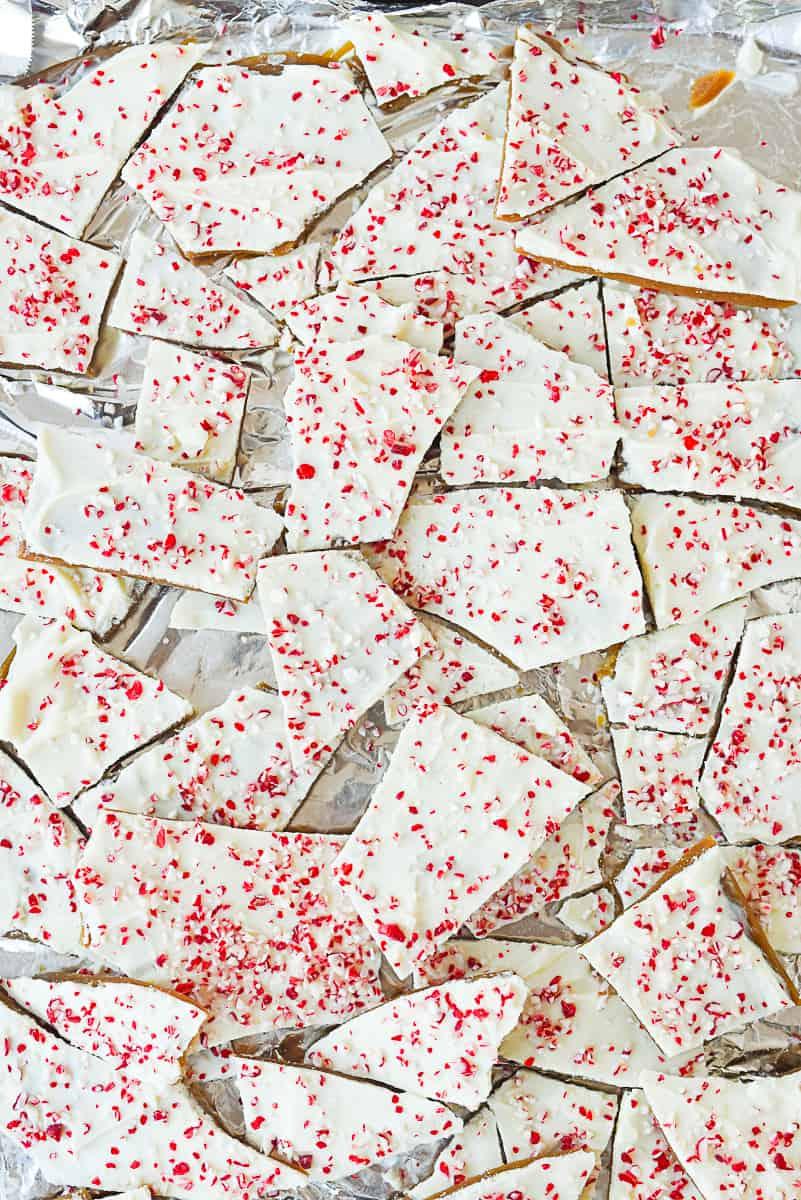 overhead shot of broken pieces of toffee