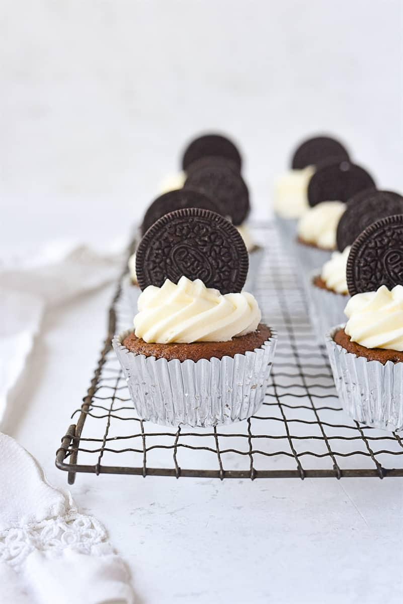 oreo cupcakes on a rack