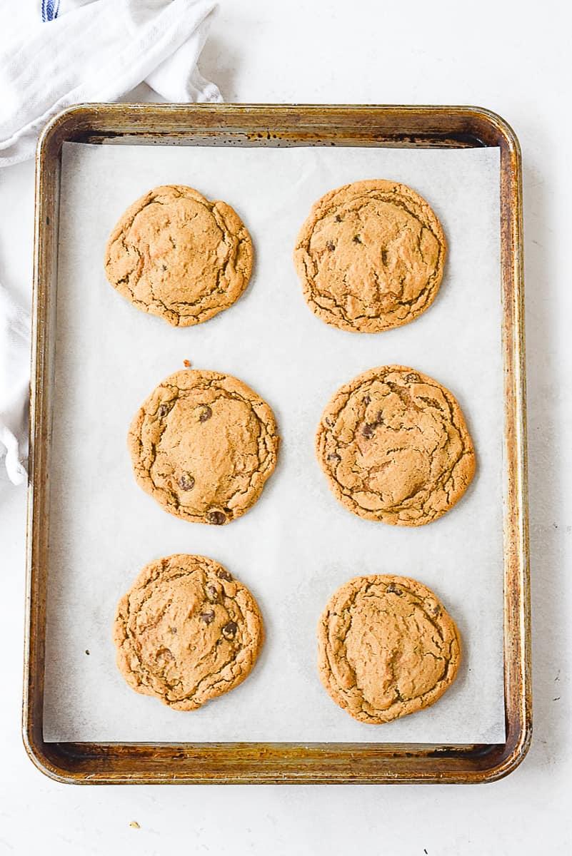 overhead shot of cookies on a baking sheet