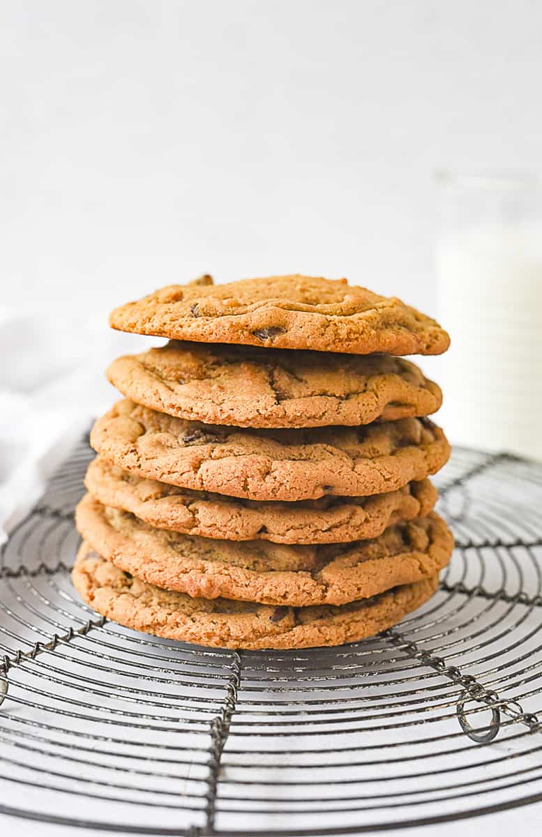 stack of small batch chocolate chip cookies