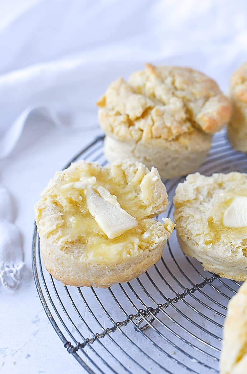 biscuits with butter on them