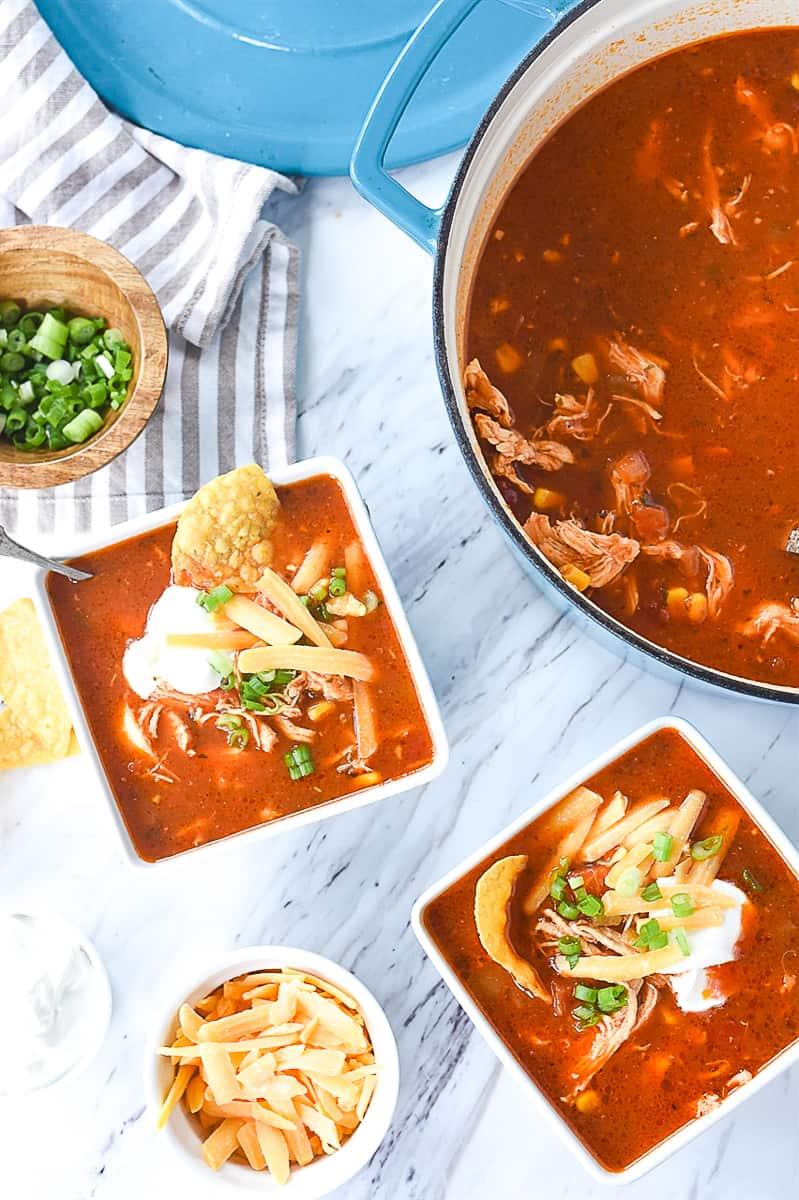 overhead shot of enchilada soup