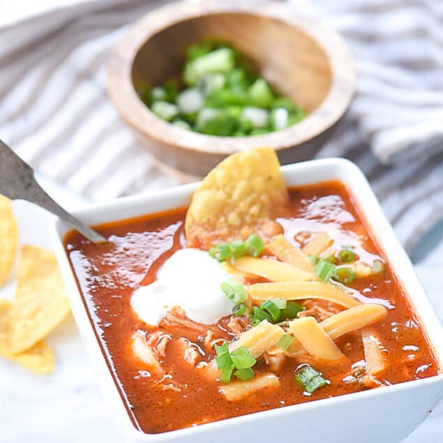 bowl of chicken enchilada soup