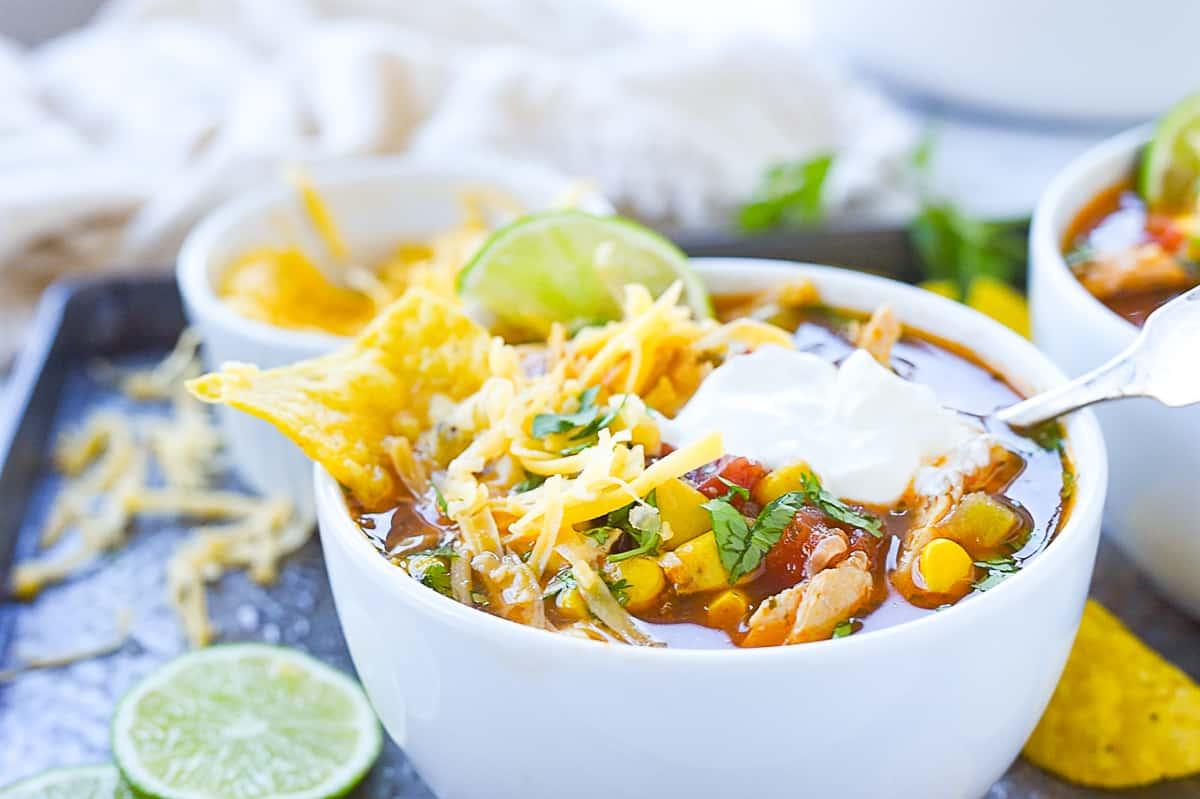 closeup of a bowl of chicken tortilla soup