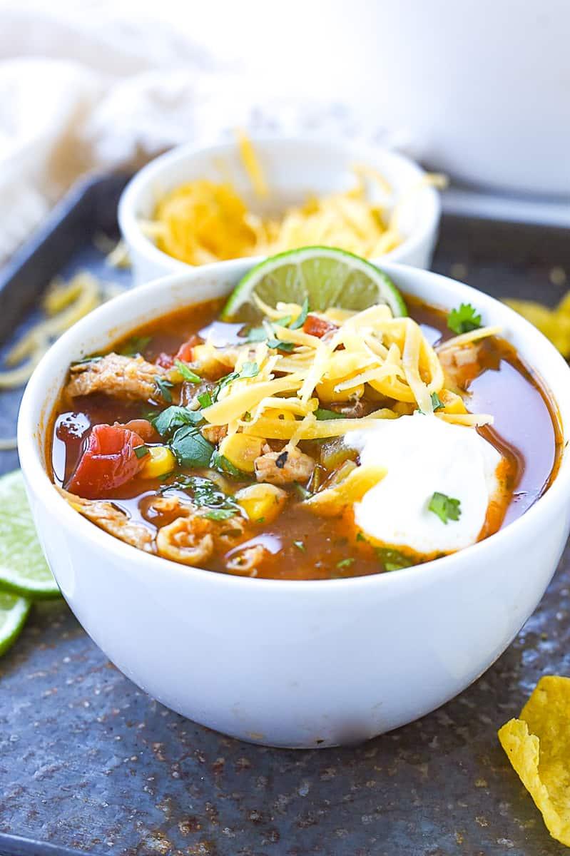 bowl of c hicken tortilla soup