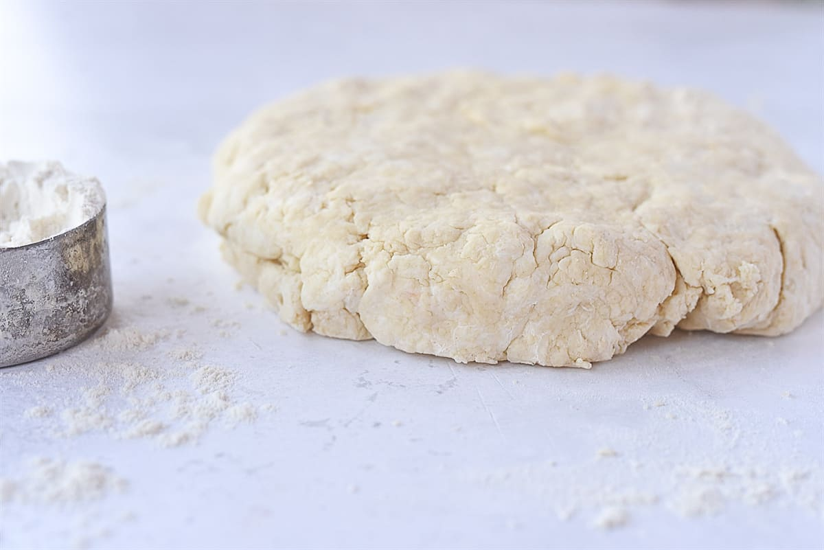 biscuit dough rolled out