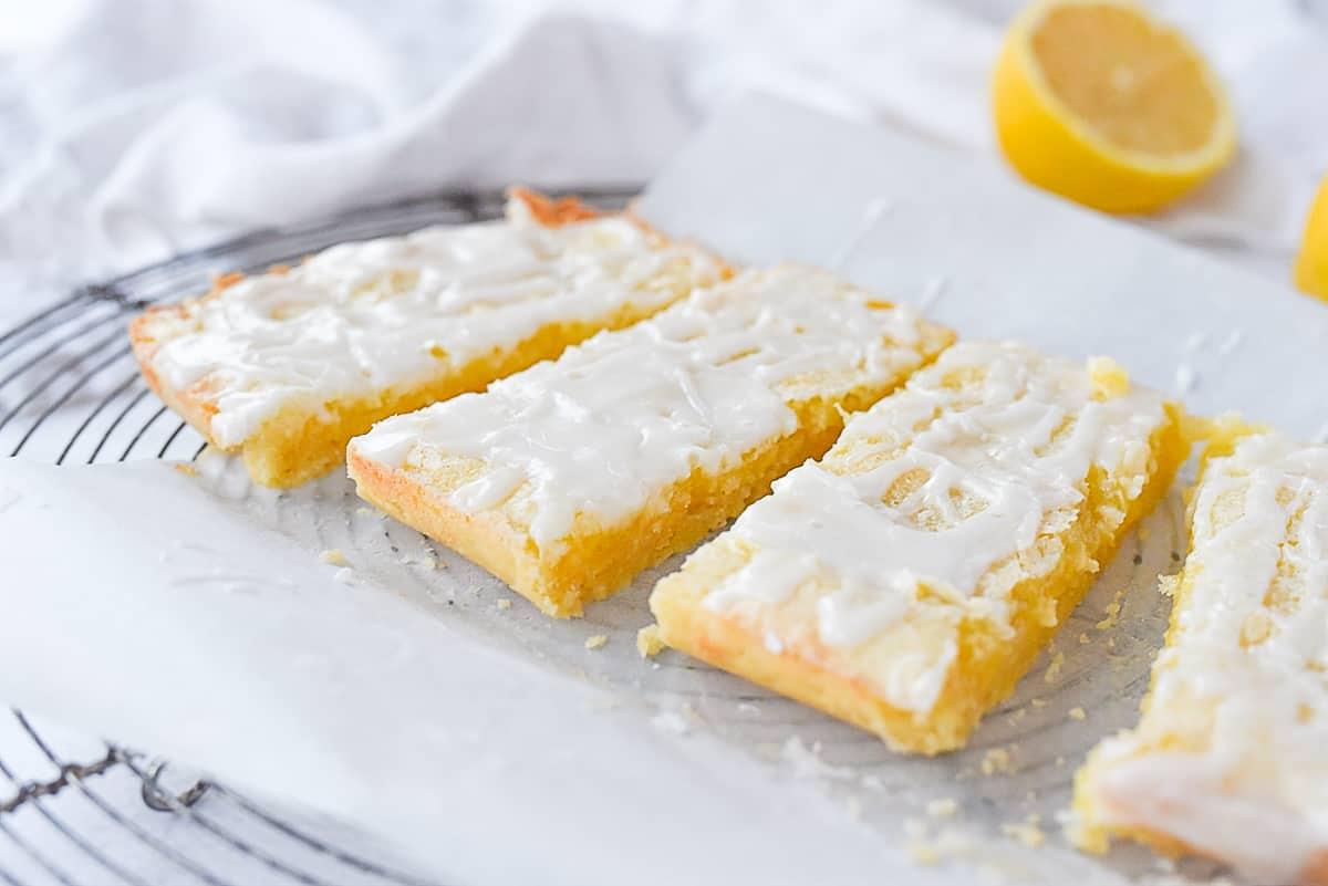 lemon bars cut into pieces.