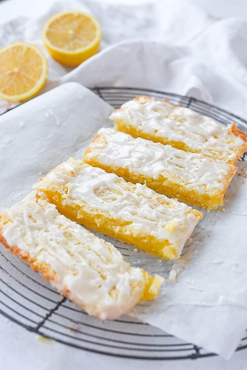small batch lemon bars on parchment paper