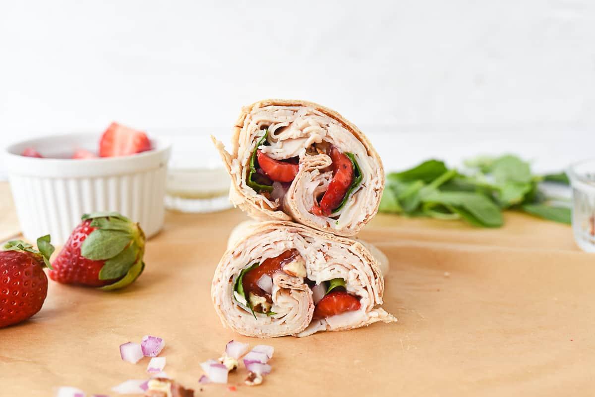 turkey wrap with strawberries