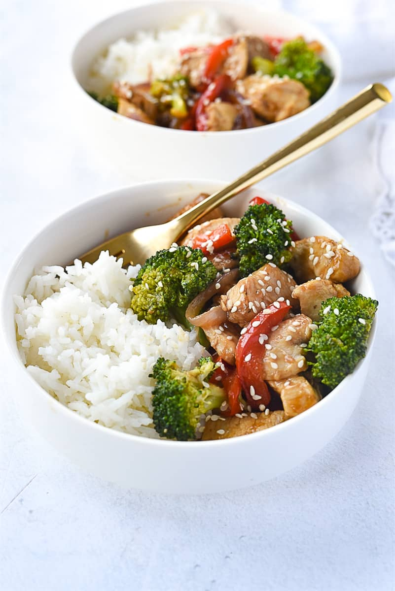 bowl of chicken and rice