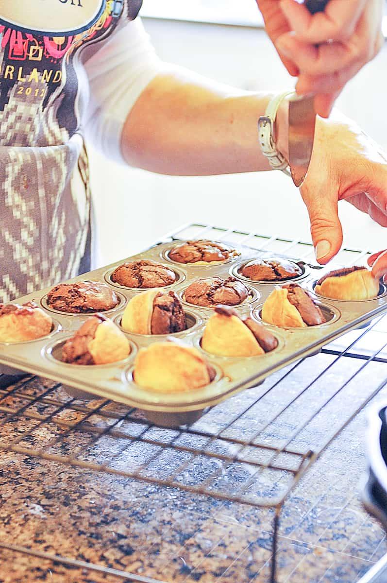 caramel brownie bites in a pan