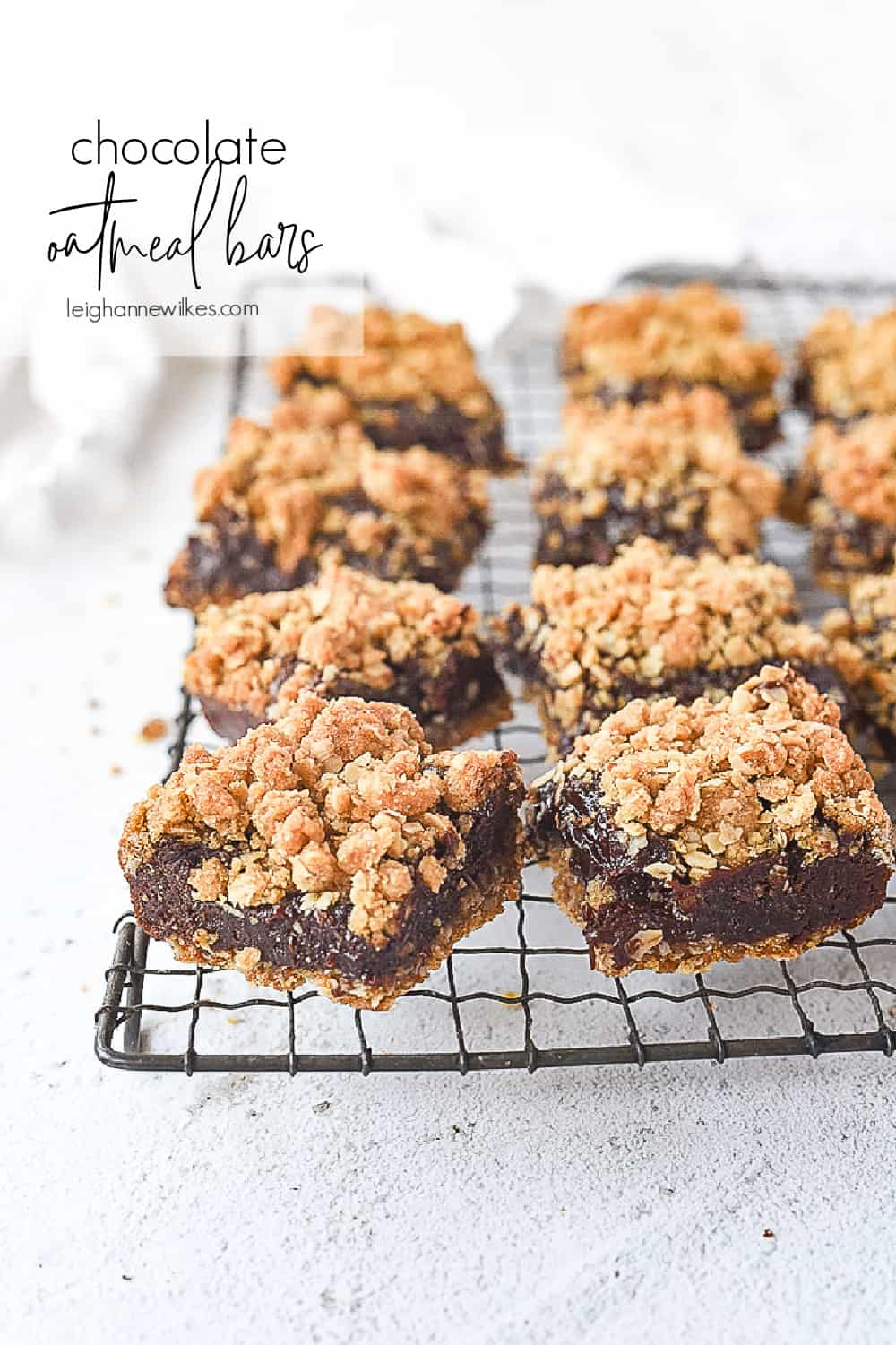 chocolate oatmeal bars on a cooling rack