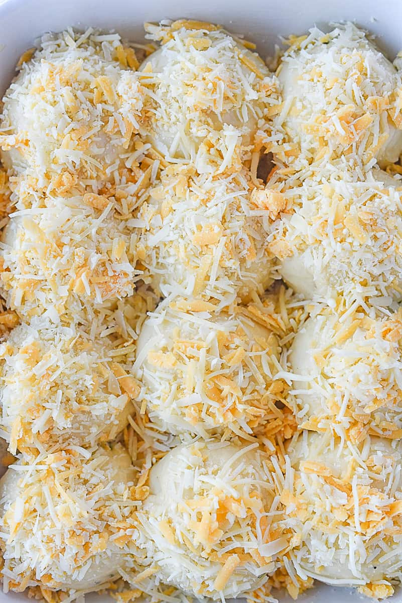 overhead shot of cheese on rolls