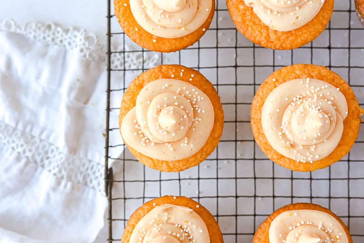 overhead shot of orange cupcakes