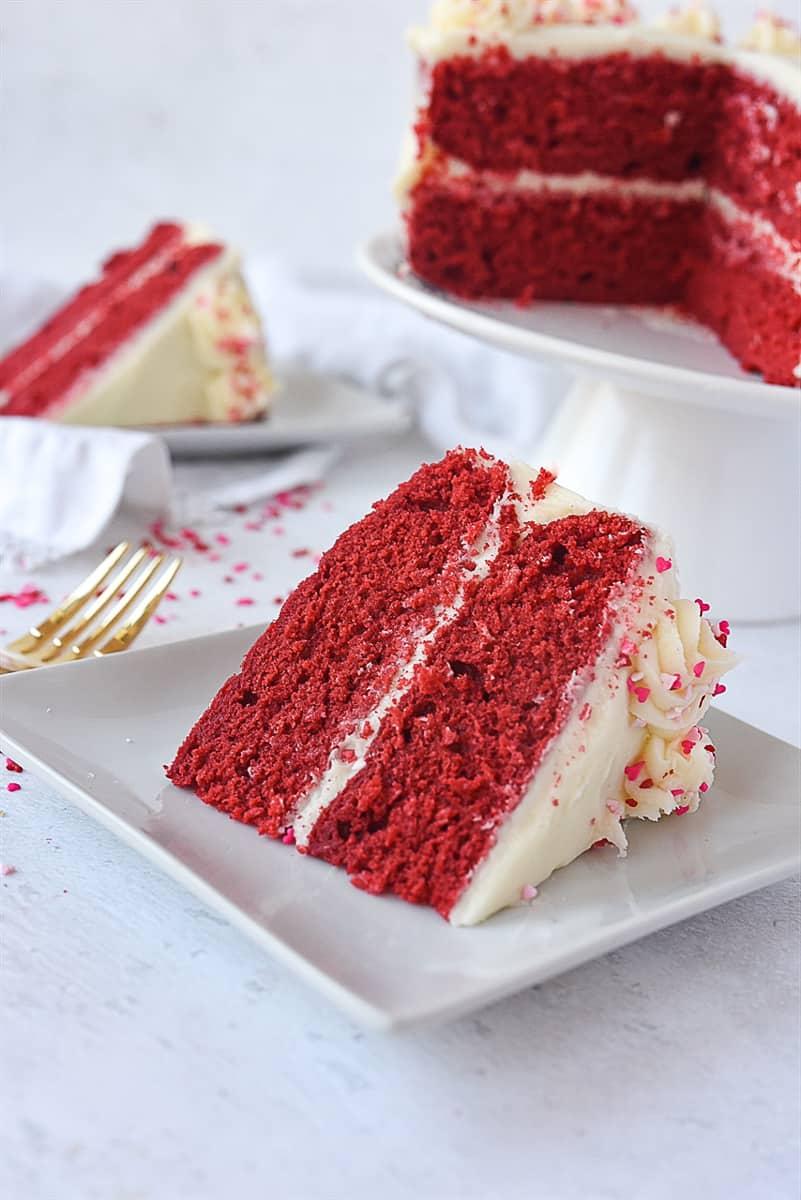 slice of red velvet cake o a plate.
