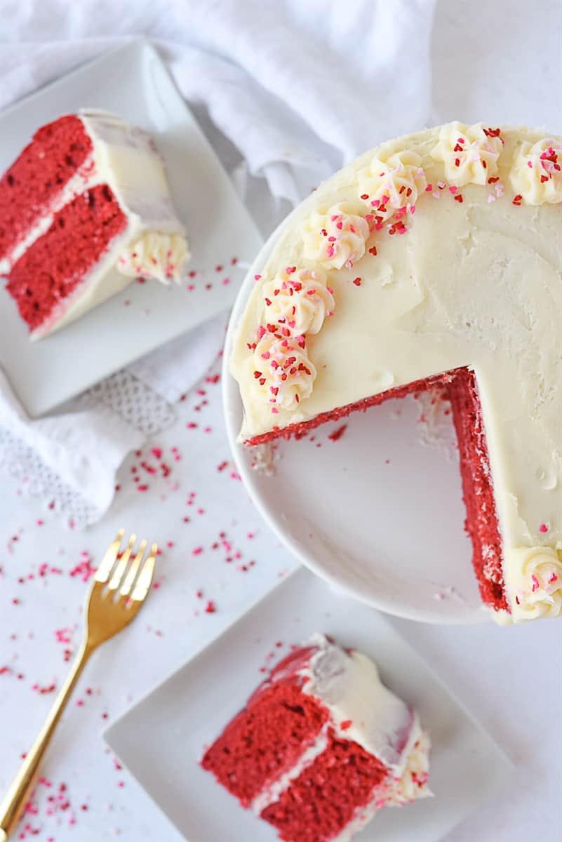 overhead shot of sliced red velvet cake