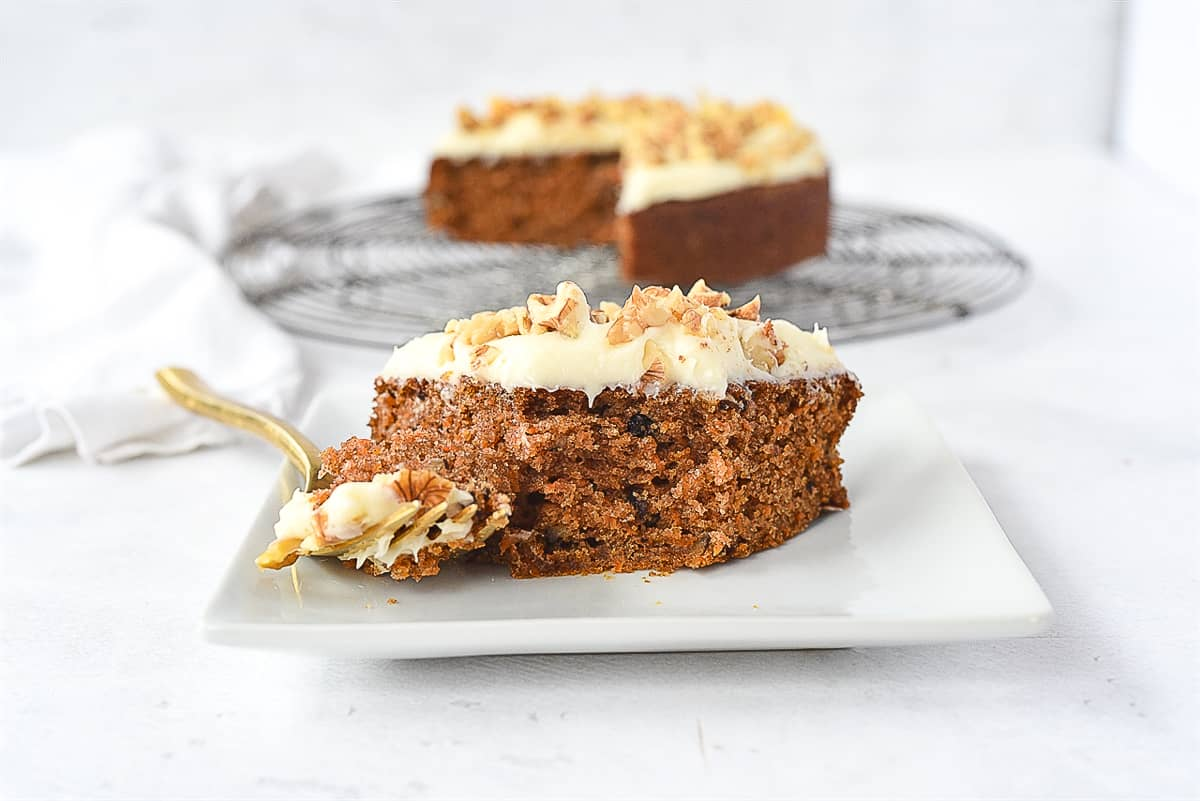 slice of carrot cake with a fork