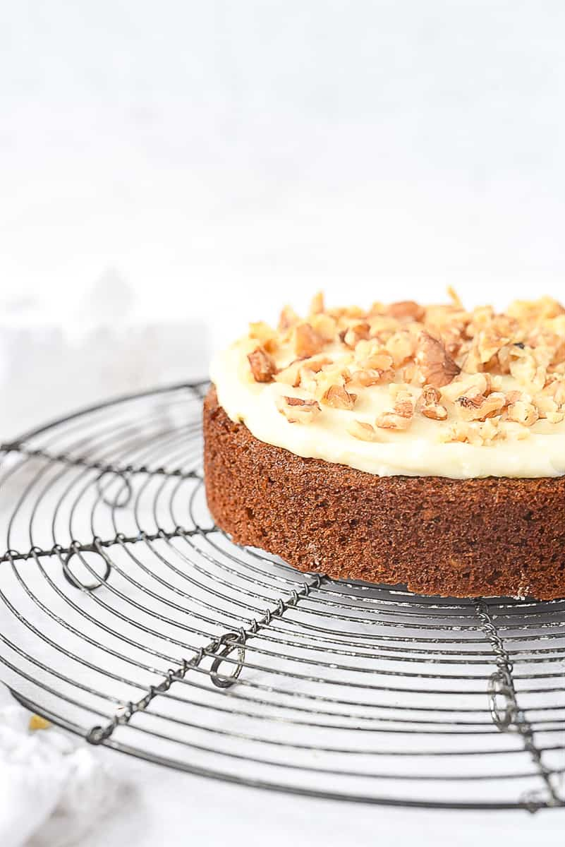 carrot cake with cream cheese frosting on top