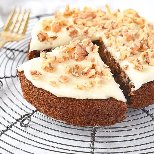 small batch carrot cake sliced