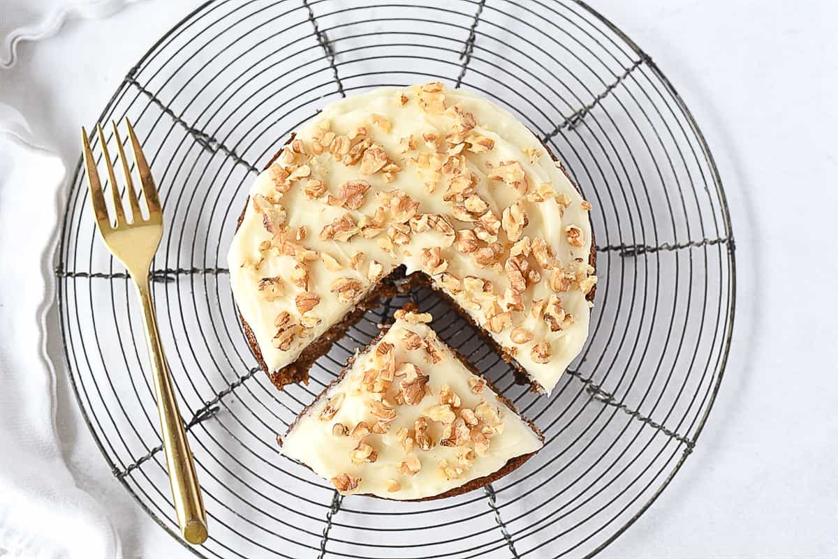 overhead shot of frosted carrot cake