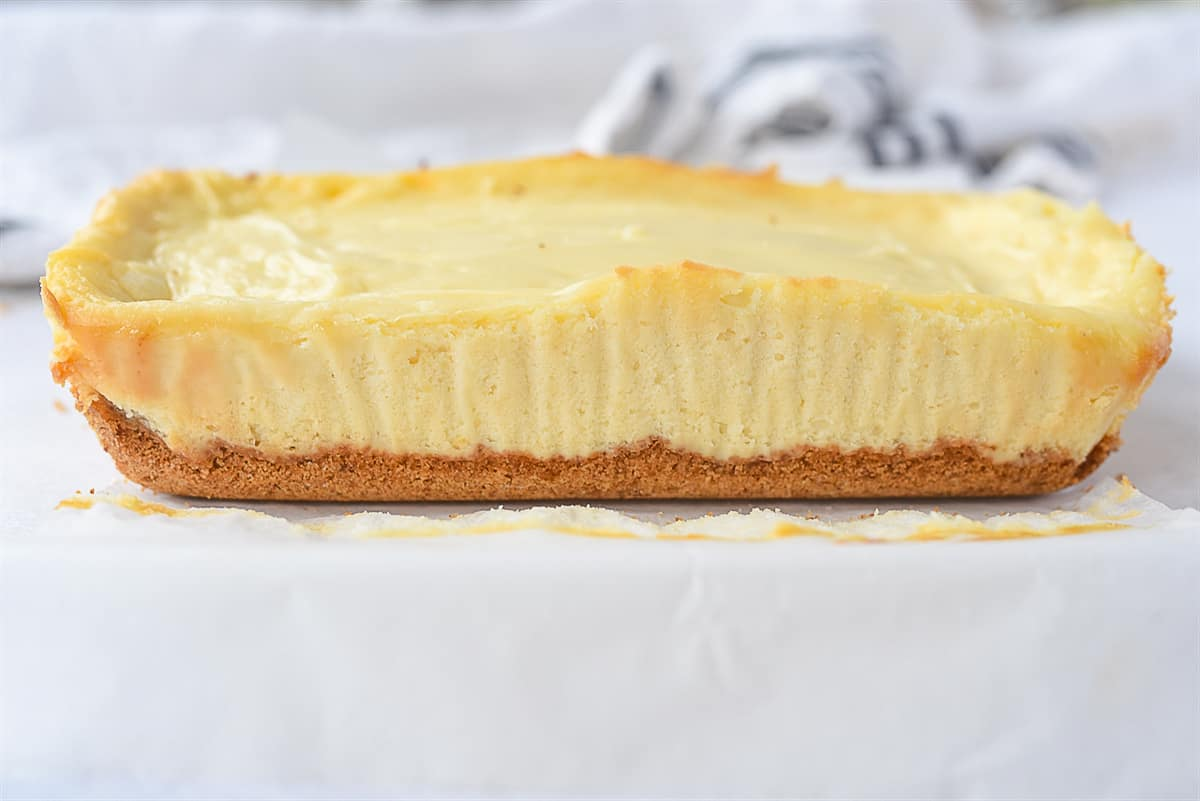 side view of a small batch cheesecake