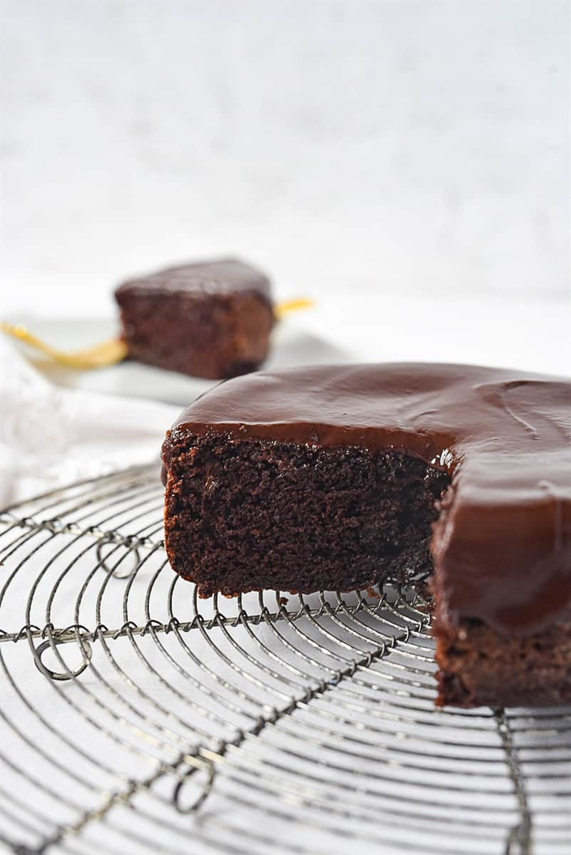 small batch chocolate cake on cooling rack