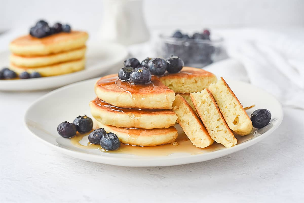 stack of three pancakes on a plate