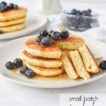 stack of small batch pancakes with blueberries on top