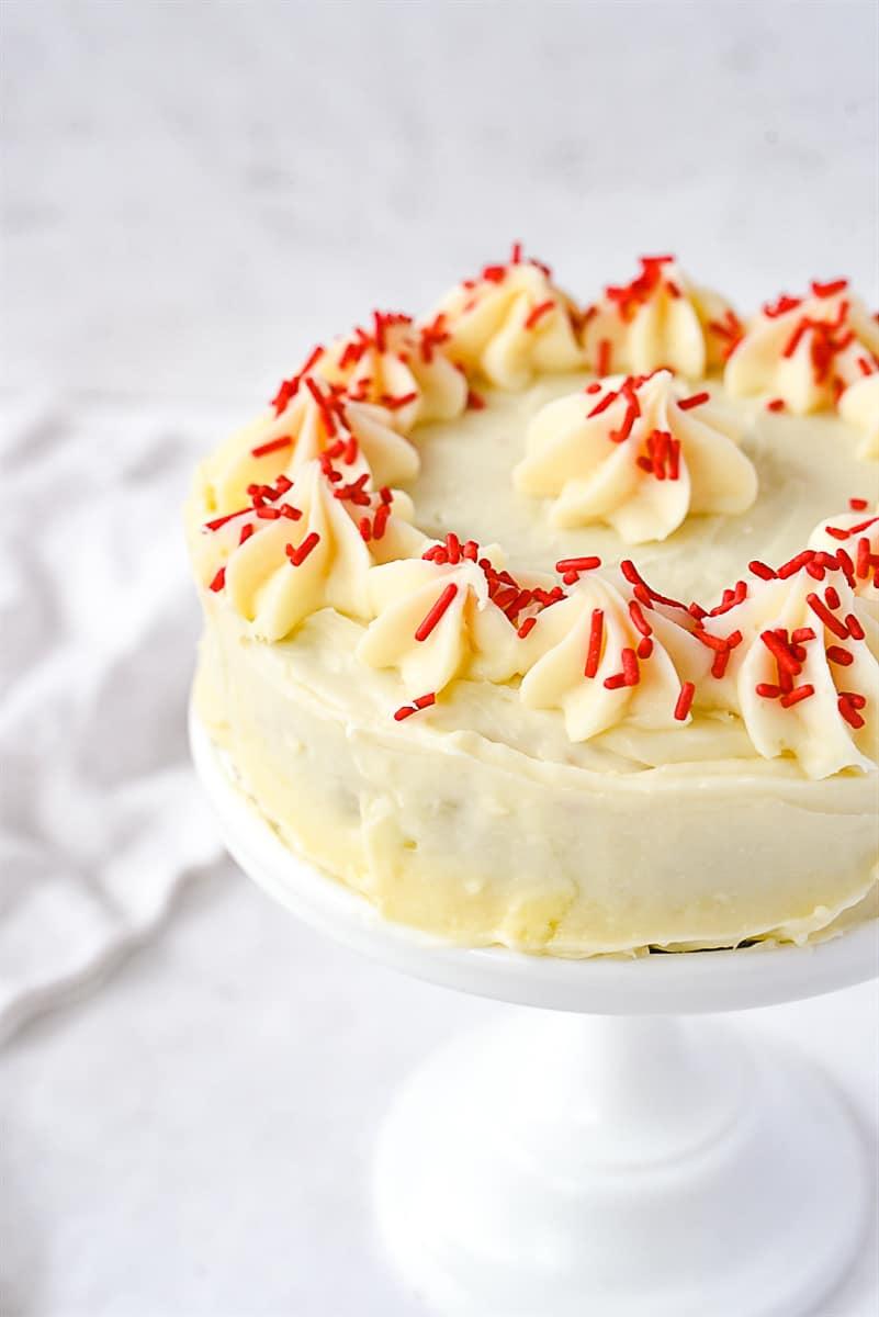 side view of red velvet cake