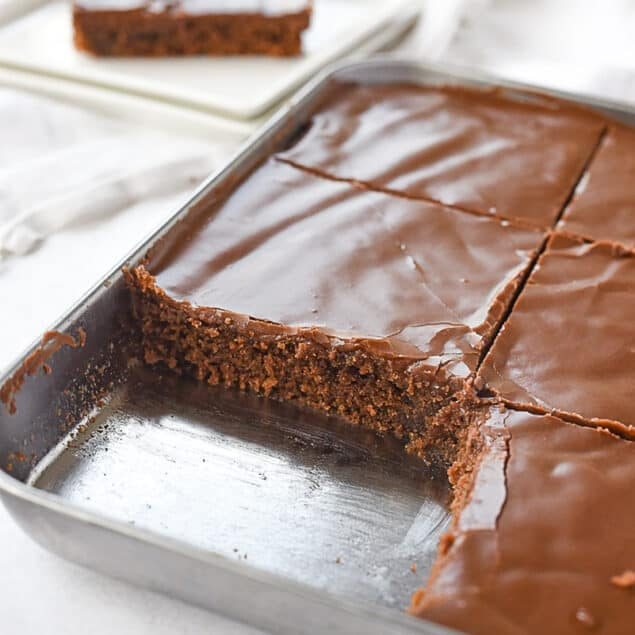 texas sheet cake for two in a baking pan