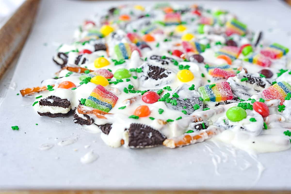 candy on top of cookie bark