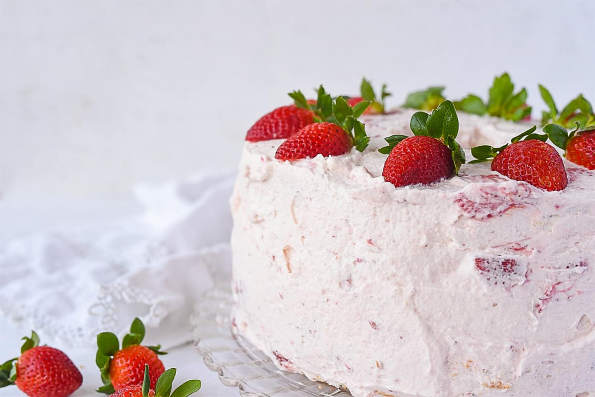 side view of strawberry cream cake