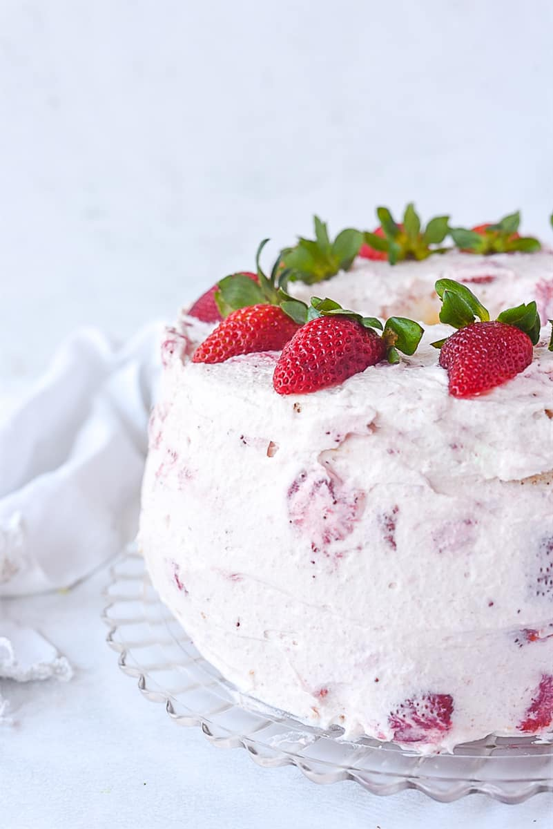 strawberry cream cake on a plate