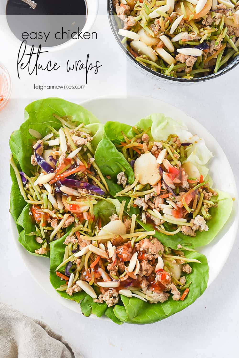 plate of chicken lettuce wraps