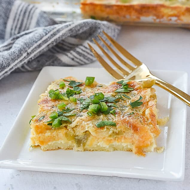 slice of egg casserole on a plate