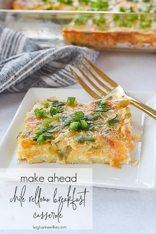 slice of breakfast casserole on a plate