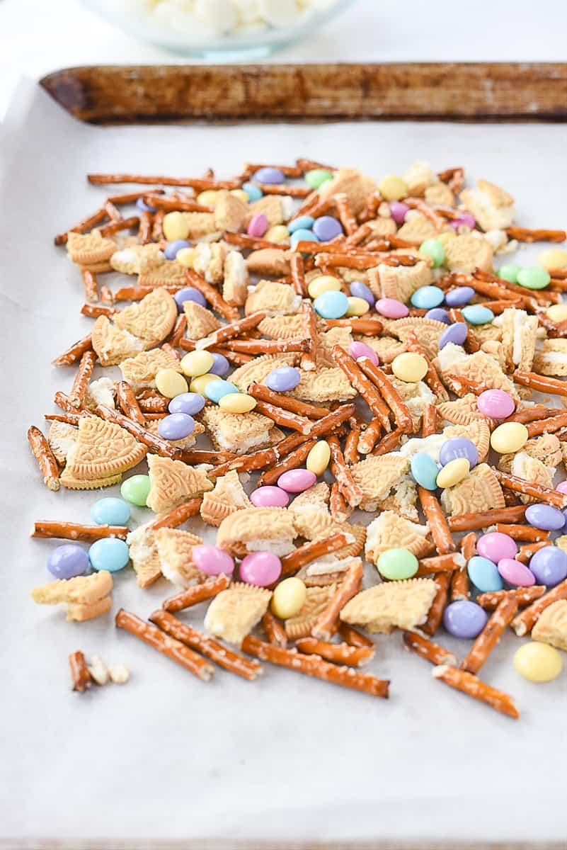 tray of easter bark ingredients spread out