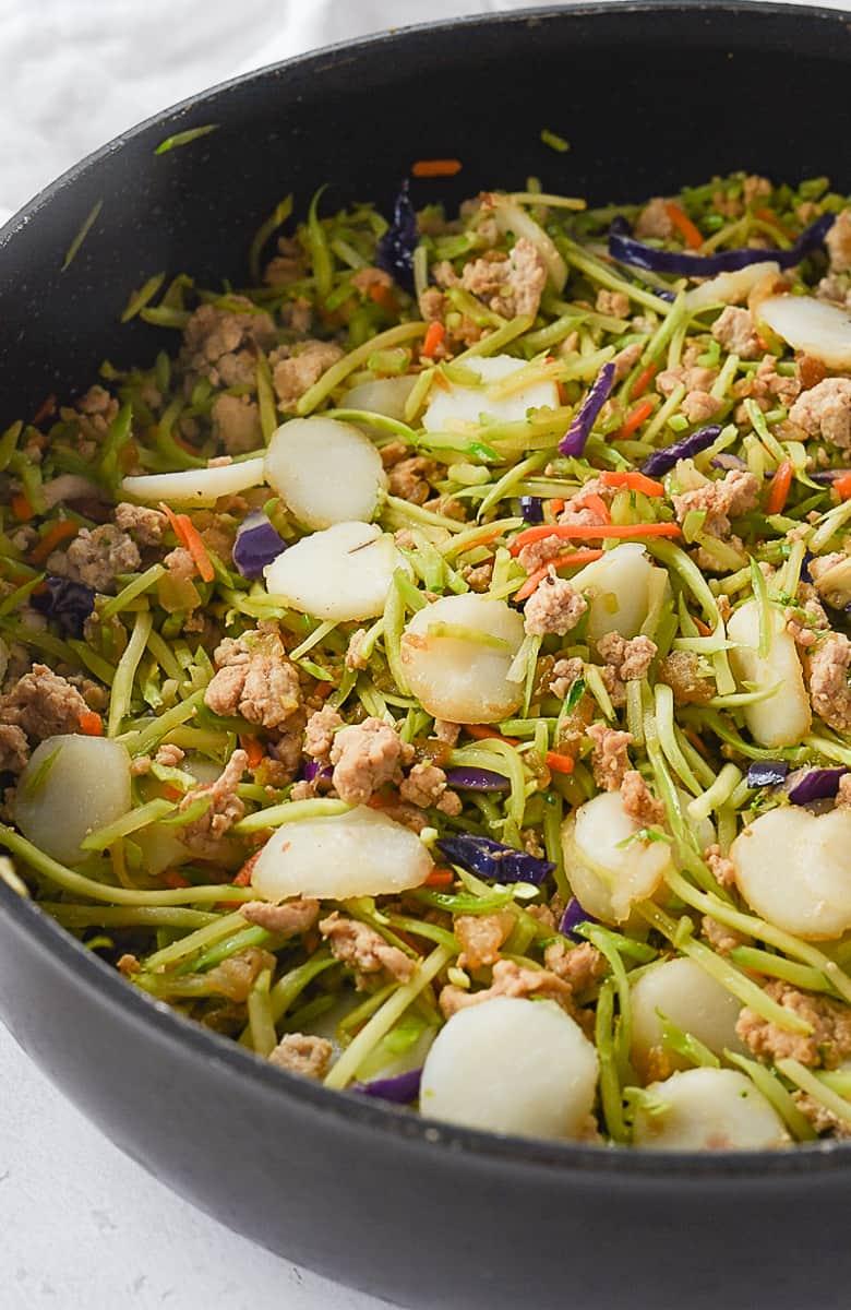 chicken lettuce wraps in a frying pan