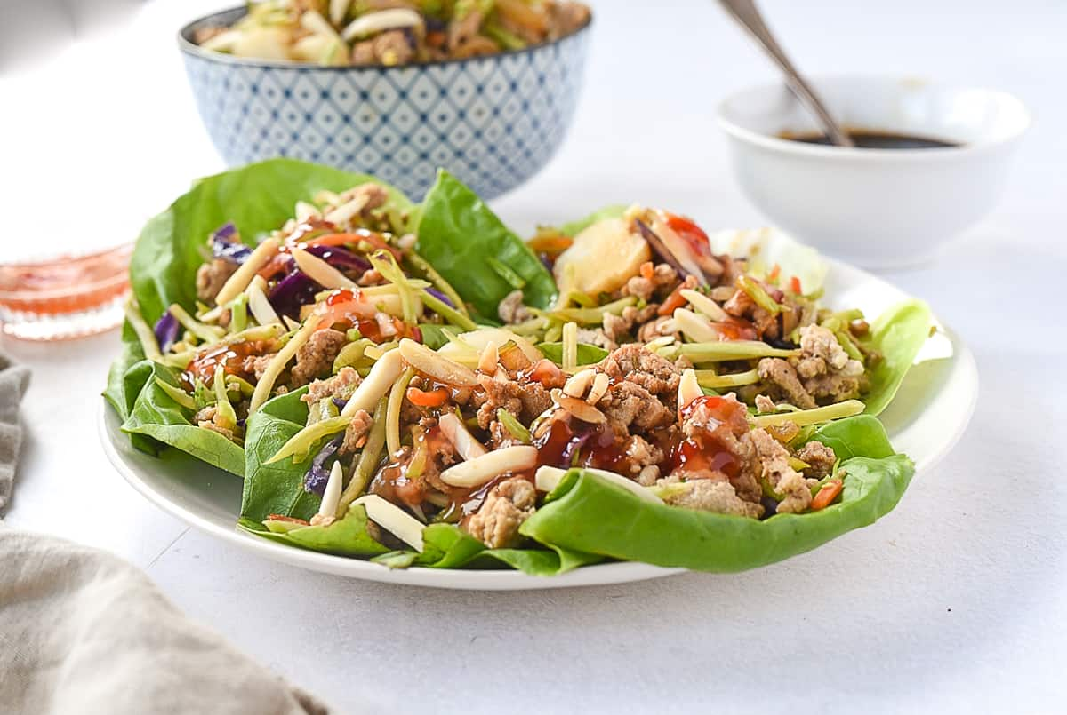 plate of lettuce wraps