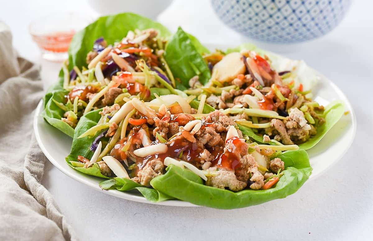 plate with three chicken lettuce wraps