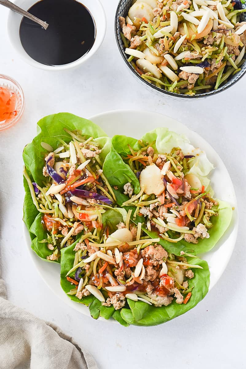 overhead shot of chicken lettuce wraps on a plate