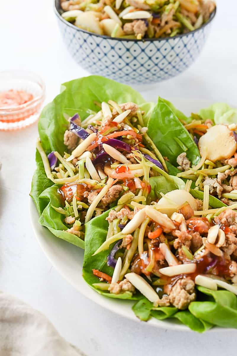 easy chicken lettuce wraps on a plate