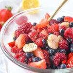 bowl of honey fruit salad