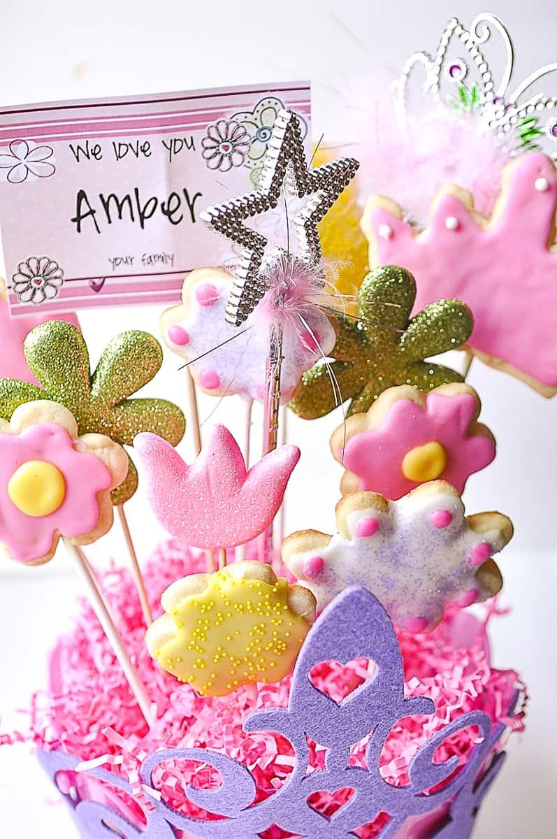 a flower cookie bouquet