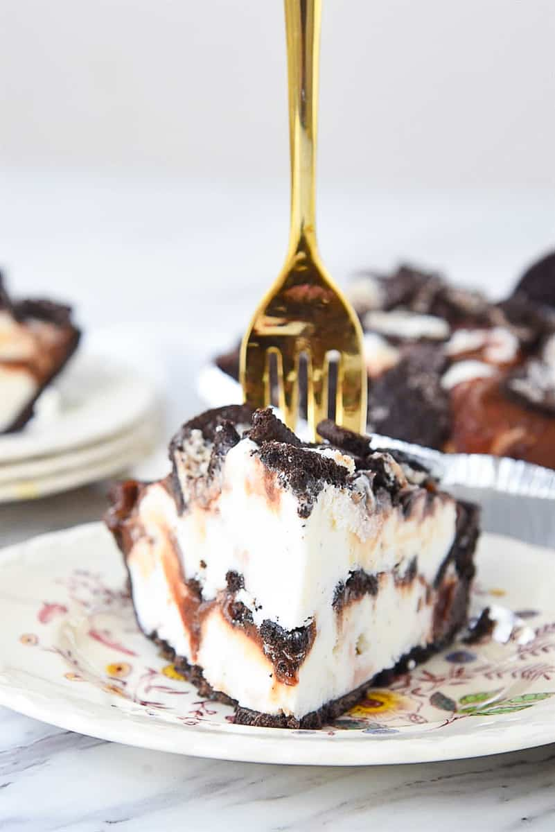 slice of ice cream pie with a fork in it