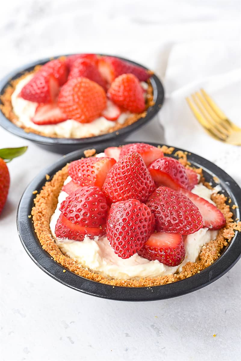 strawberries on top of cream filling